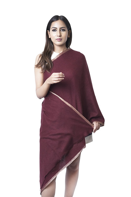 Women's Fine Wool, Jacquard Woven with Lurex Border, Maroon Stole