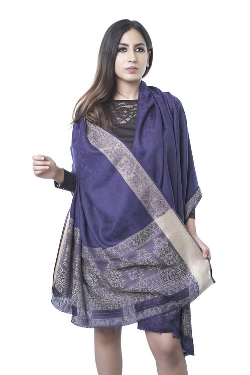 Women's Fine Wool, Melange, Designer Border, Navy Blue, Kashmiri Wrap