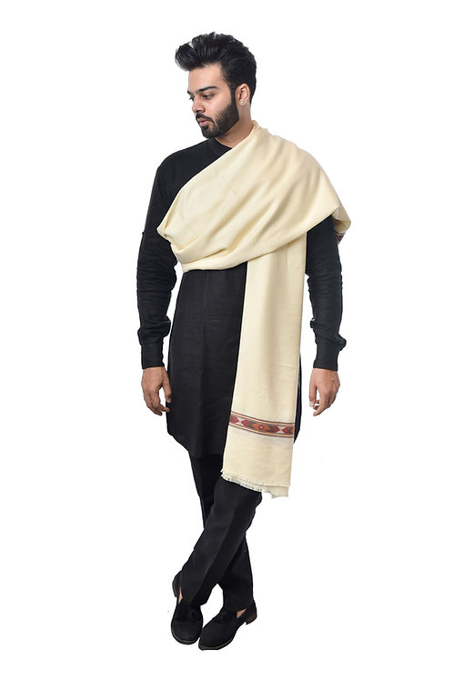 Men's Fine Wool, Kullu Design, Natural Lambs Wool, Woven Cream Shawl