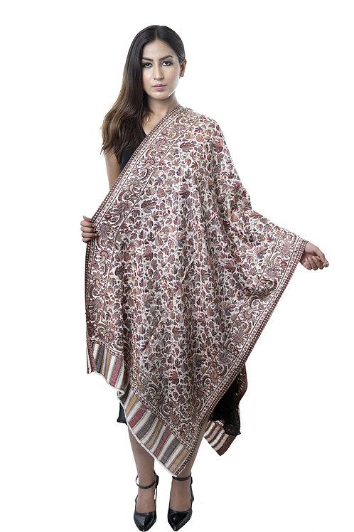 Women's Fine Wool Silk, Pashmina, Kani Cutting Jaal with Paisley Weave Stole