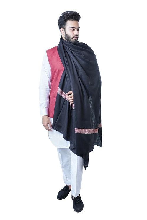 Men's Supreme Fine Wool Pashmina, Kashmiri, Embroidery Daur, Elite Lohi