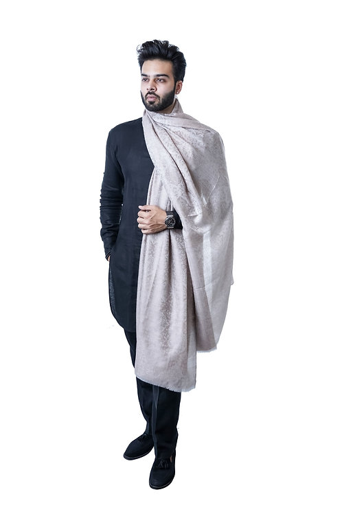Men's Fine Wool, Pashmina, Self Embellished Paisely Weave Elite Lohi