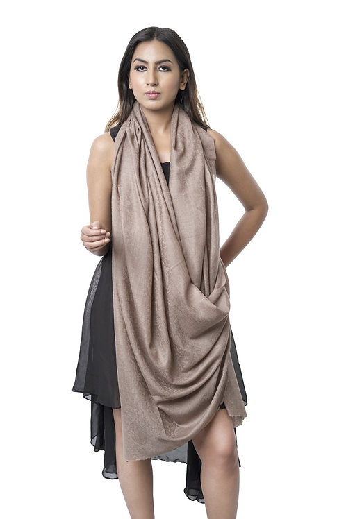 Women's Pure Wool Pashmina, Self Embellished, Dark Toosh Wrap