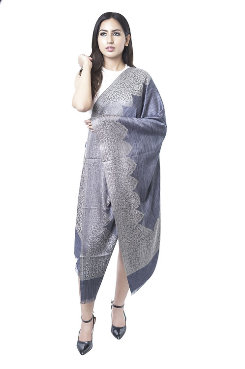 Women's Fine Wool Silk, Melange, Designer Border Stole
