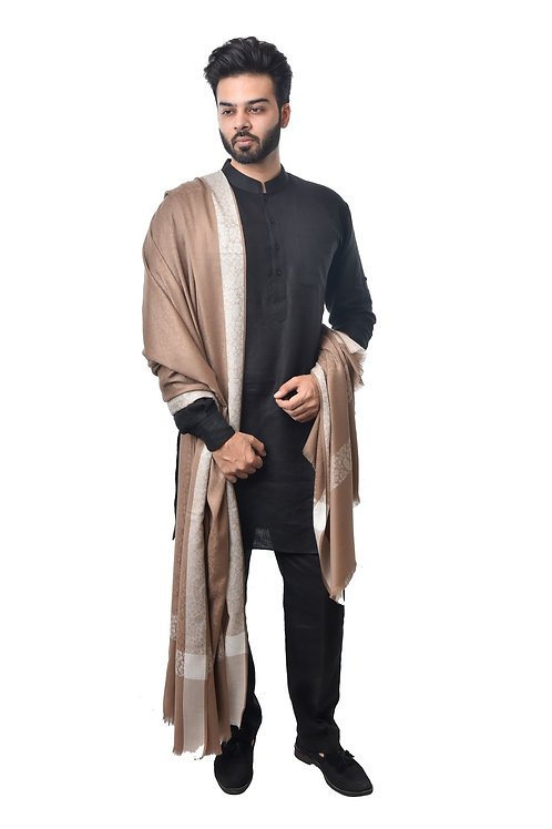 Men's Fine Wool Pashmina, Designer Borders, Self Embellished  Lohi