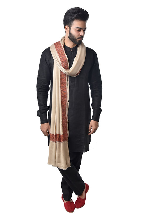 Men Beige Timeless Classic Kashmiri Embroidered, Beige  Shawl