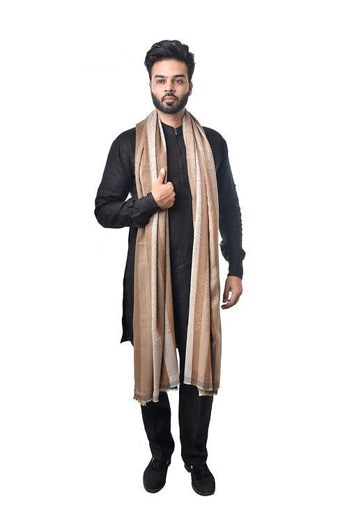 Men Fine Wool Designer Contrast Stripe Beige  Shawl,