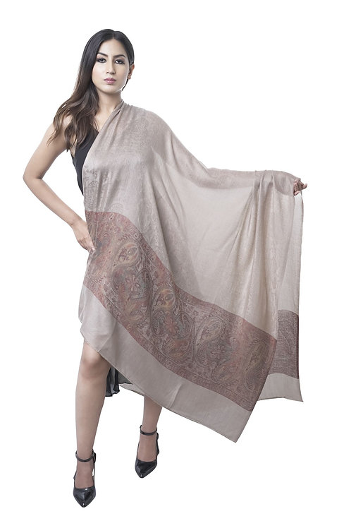 Women's Fine Wool with Paisley Border, Self Embellished Natural Toosh Shawl