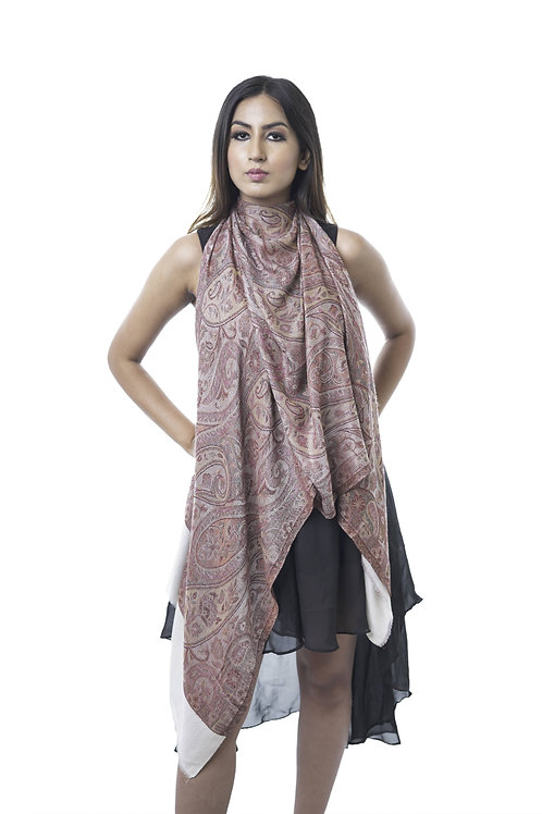 Women's Fine Wool Silk, Pashmina with Paisley Stole