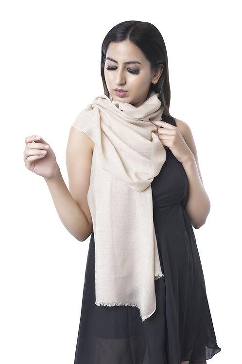 Unisex Fine Wool Woven Beige Plain Stole