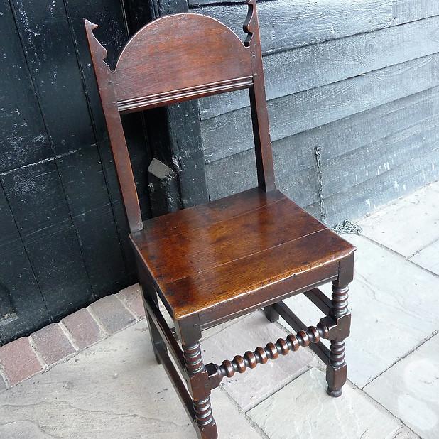 Charles II, English Oak Backstool