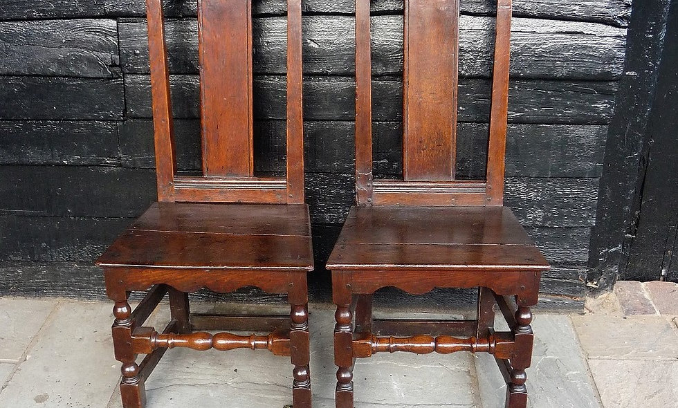 Pair of WiIliam and Mary Oak  Circa 1690, Hall chairs