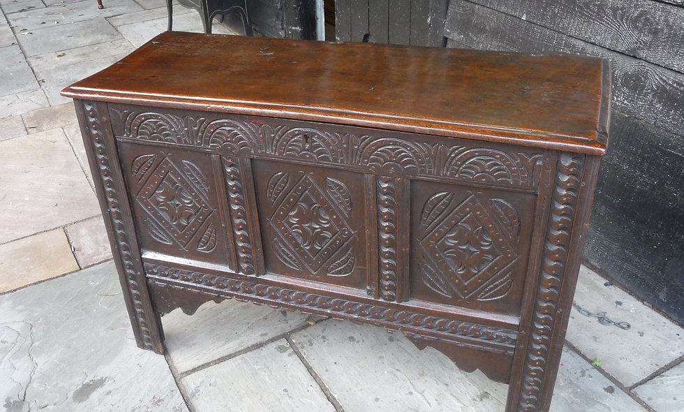 Mid 17th C, Hand carved, Oak Sword chest.