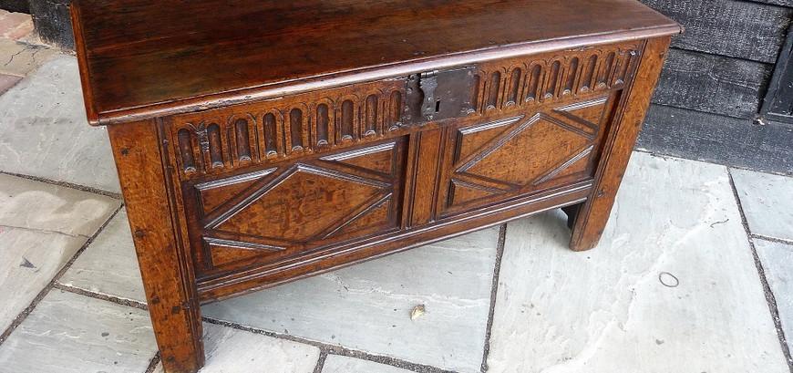 Sold Cromwellian Oak Coffer