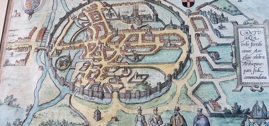 1588 Braun and Hogenberg map of  Canterbury