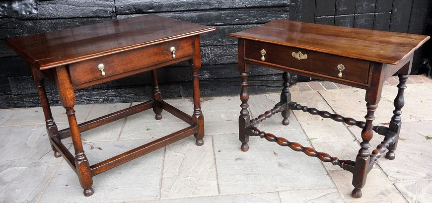 Oak And Walnut Side Tables