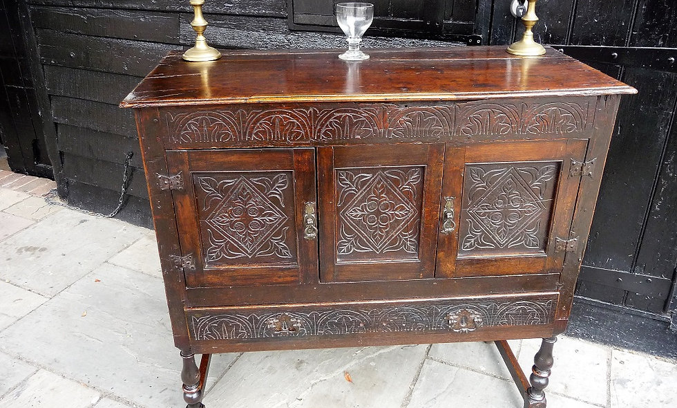 17th C and Later Oak Carved Cupboard