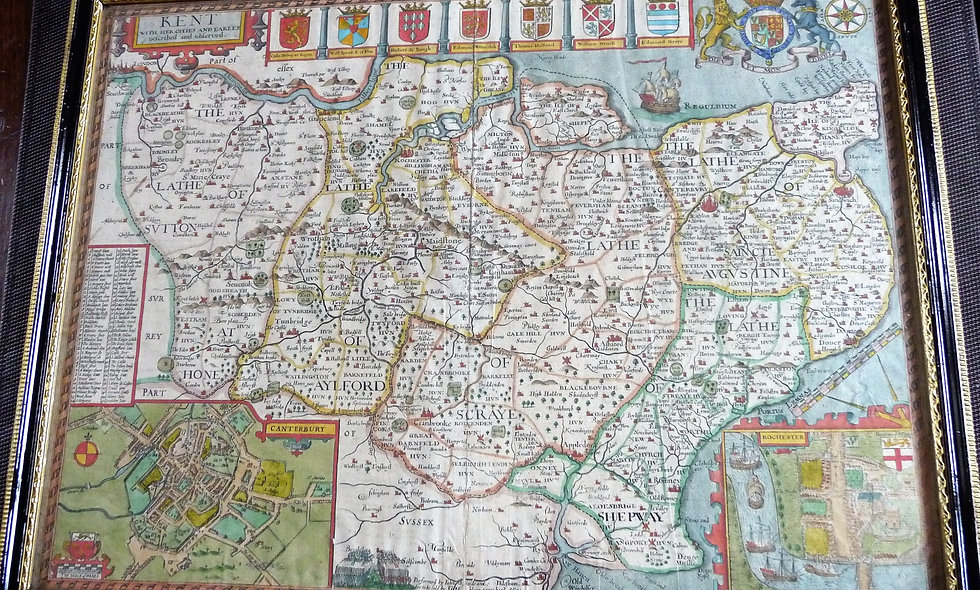 Rare 1627 edition John Speed Map of Kent