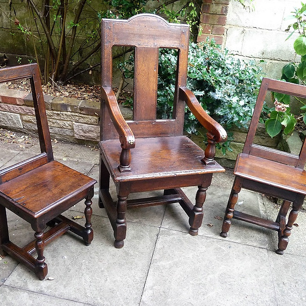 17th C  French Oak Chairs