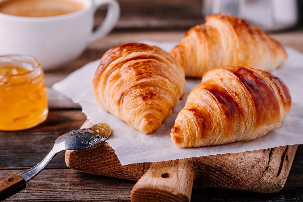 Morning breakfast. Homemade baked croiss