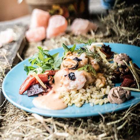 Pearl barley with a seafood, lime and coconut cream sauce