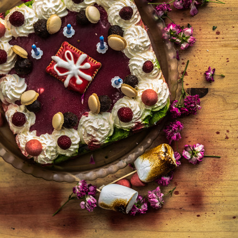 A raspberry and white chocolate birthday cake