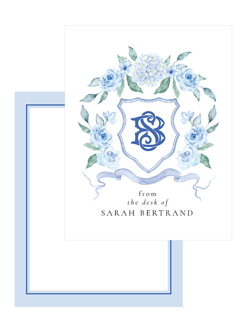 Blue Hydrangea Personalized Note Card
