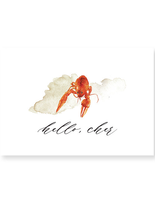 Hello, Cher | Crawfish Personalized Note Card