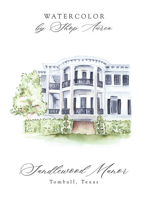 Watercolor of Sandlewood Manor