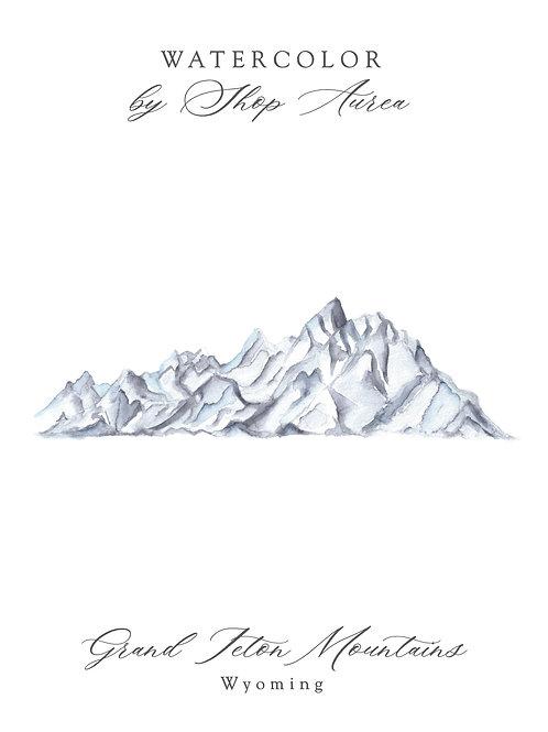 Watercolor of Grand Teton Mountains
