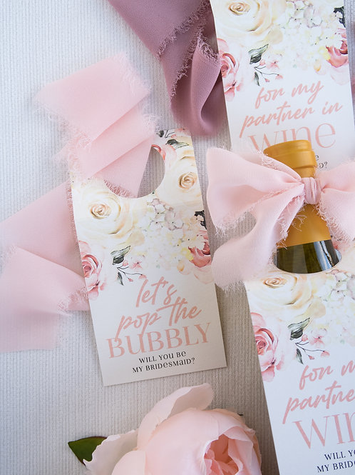 Pop The Bubbly, Bridesmaid Proposal Bottle Tags