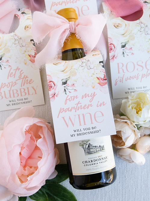 Partner In Wine, Bridesmaid Proposal Bottle Tags