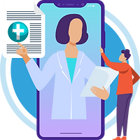 The doctor is showing the prescription for the person via hiCare Clinic available worldwide (US, UK, India, China, etc.)