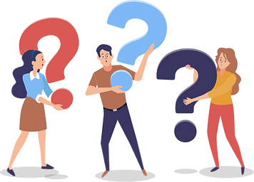 Two women and one man lifts 'question mark' symbols asking questions about Telemedicine service worldwide (US, UK, IND, etc).