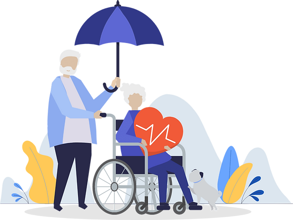 An old woman with chronic high blood pressure is sitting in a wheelchair and an old man is holding his umbrella for her