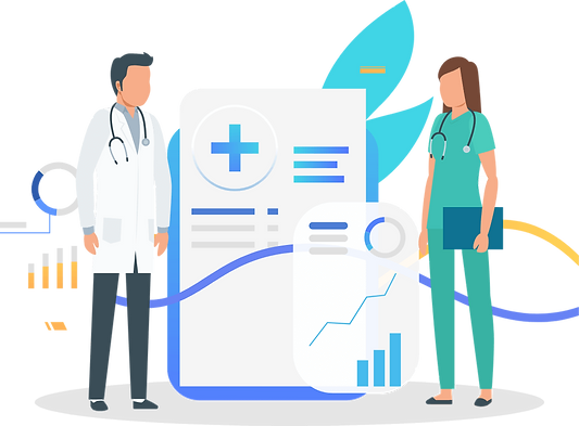 A male and a female U.S. healthcare providers are looking at eachother in the backdrop of showing revenue growth graphically