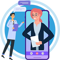 A doctor is interacting with the patient virtually via video and chat screens showing online consultation worldwide