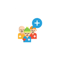 Three members with healthcare symbol shows that you can invite care members to care circle via Karathon platform in the US