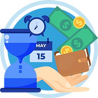 A watch clock, calendar, and dollars depict on-time payment via hiCare Clinic worldwide (US, UK, UAE, INDIA, AUS, PAK, etc.)