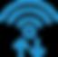 Up arrow and low arrow symbols below the wifi signal
