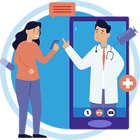 A person consulting with the doctor via video consultation in hiCare Clinic available worldwide (US, UK, India, China, etc.)