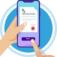 A prescription is seen in the screen and a finger is clicking the SEND button. This screen shows online prescription delivery