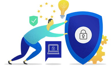 A man secures the Hifinite's Telehealth privacy and security data with the shield
