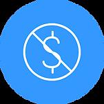 A dollar symbol inside a circle with a slash