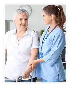 An age old woman is taken care by a female caregiver using Medhera, one of the top 10 med adherence services in the US