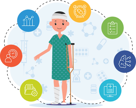 Patient holding a crutch has bandage on his leg and head. He can avail Telehealth modules around him anytime across the U.S.