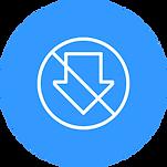 A download symbol inside a circle with a slash
