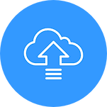An upload symbol surrounded by a cloud sign