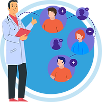 A doctor adding other doctors from his list showing Telemedicine doctors list setup worldwide (US, UK, UAE, INDIA, AUS, etc.)