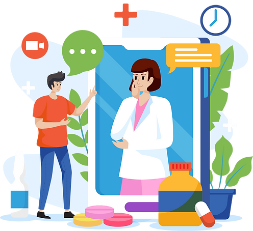 A man surrounded by meds consulting with the doctor virtually via hiCare Clinic (US, UK, UAE, INDIA, AUS, China, Japan, etc.)